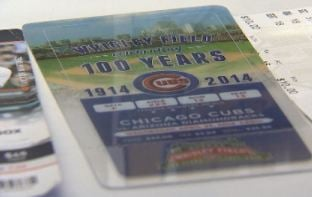 A ticket to Wrigley Field in Chicago this year, the 100th year of the stadium. (Source: CBS 5 News)
