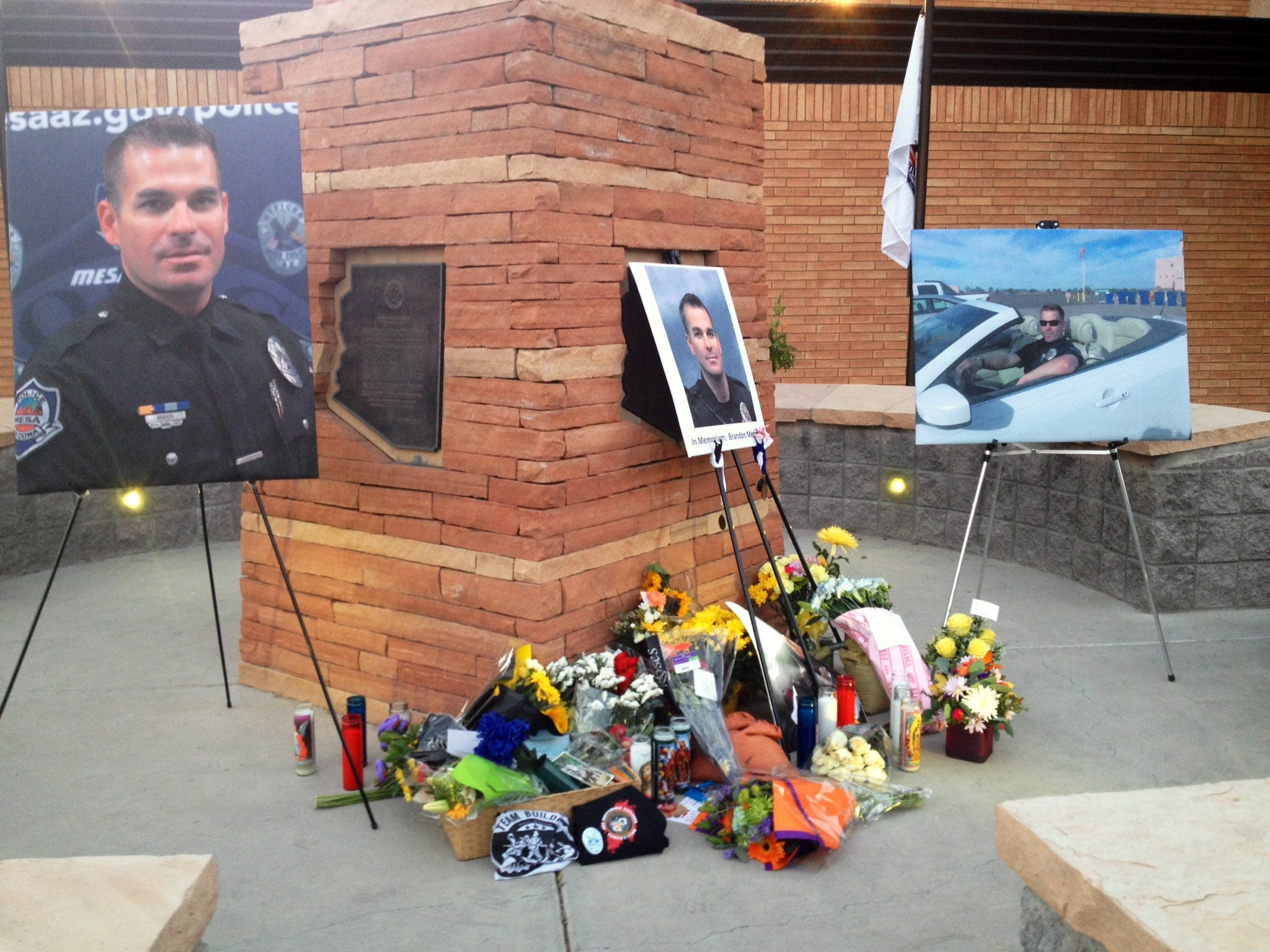 Officer Mendoza's memorial at Mesa PD.