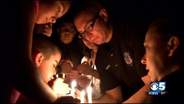 A vigil was held in front of the Mesa Police headquarters. (Source: CBS 5 News)