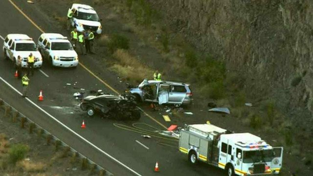 Three people died when a wrong-way driver caused a head-on crash on southbound Interstate 17 on Friday morning. (Source: CBS 5 News)