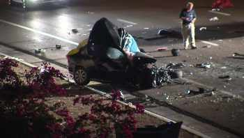 Two people were killed when a  pickup truck and a passenger vehicle collided in the eastbound lanes of Loop 202 San Tan Freeway just before 2 a.m. Sunday. (Source: CBS 5 News)