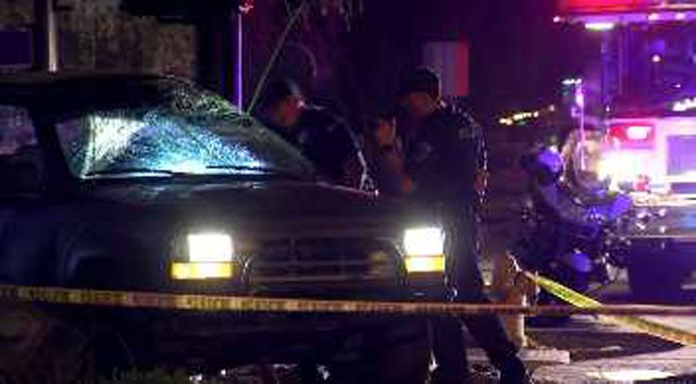 Two people in a truck that rolled during a police chase are in critical condition. (Source: CBS 5 News)