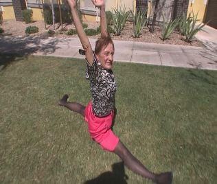 Diane Barker, 65, shows off gymnastics moves (Source: CBS 5 News)