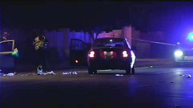 A man was in critical condition after he was hit by this car as he tried to cross Olive Avenue in Glendale in the middle of the street.