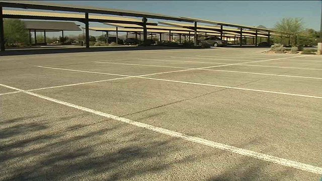 Scottsdale spent $8.5 million on this pristine parking lot, plus another $700 a month to keep the lights on and maintenance. (Source: CBS 5 News)