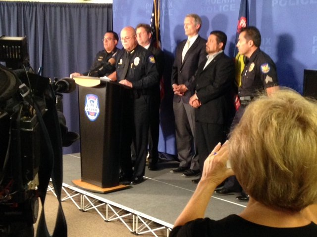 Phoenix police chief Daniel Garcia, Mayor Greg Stanton and police spokesman Sgt. Steve Martos were among the speakers at Monday's news conference on Gary Moran's arrest.