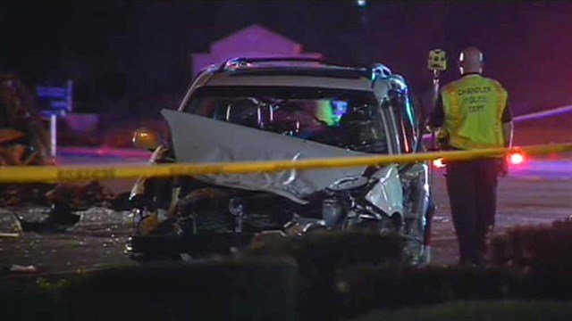 A man riding in this minivan was hospitalized in critical condition after the crash in Chandler.