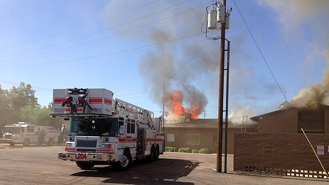 The fire broke out just before 9 a.m. at the New Life Assembly of God Church at 315 W. University Dr. (Source: Mesa Fire Department)