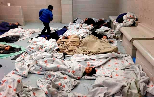 A photo from inside the Nogales warehouse where hundreds of children are being held after crossing the border alone. (Source: AP/Donald E. King)