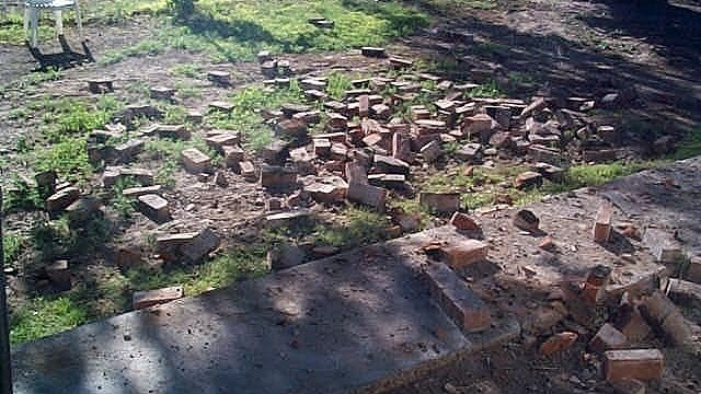 The earthquake shook several bricks from a chimney on one house in Duncan. (Source: Duncan Valley Rural Fire Department)