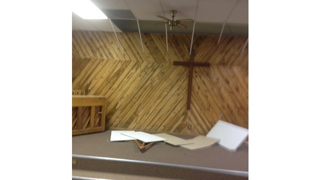 Ceiling tiles fell in the First Baptist Church in Duncan. (Source: Duncan Valley Rural Fire Department)