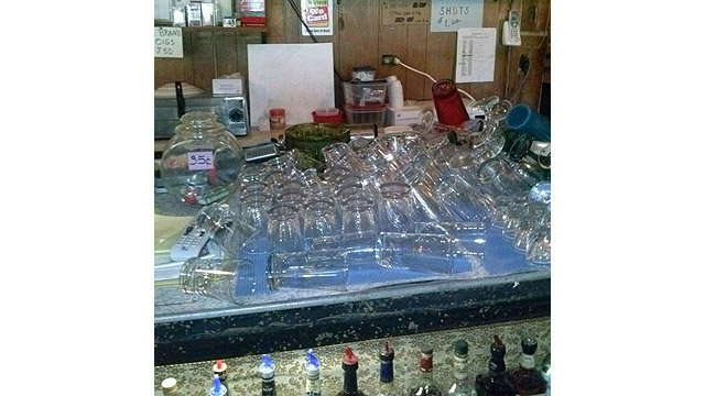 Glasses fell and bottles of liquor tumbled to the floor in the Bonnie Heather Bar in Duncan. (Photo courtesy Mignon McDonald)
