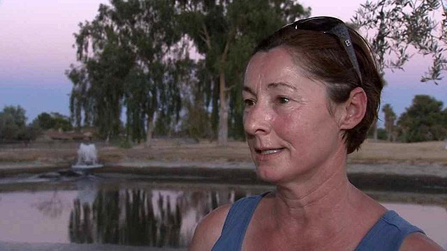 Susanne Mauch said she was very concerned about dying fish and birds after the owner of the now closed Ahwatukee Lakes Golf Course started draining lakes on the property. (Source: CBS 5 News)