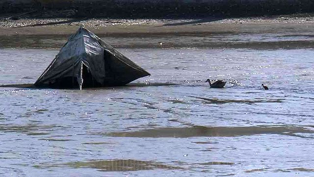 Even waterfowl had a tough time in the slimy and deep silt of the drained lakebeds. (Source: CBS 5 News)