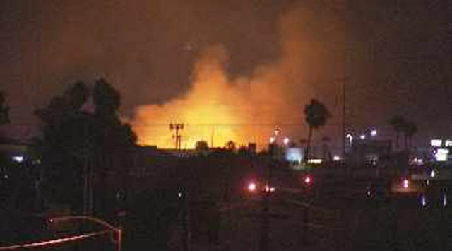 Downed power lines apparently sparked a massive fire in the Phoenix area,. (Source: CBS 5 News)