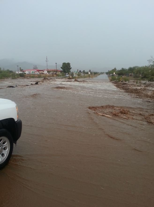 "Flooding at Sahuarita and Houghton roads. (Source: KOLD and Helen Edgcomb/""See it, Snap it, Send it"")"