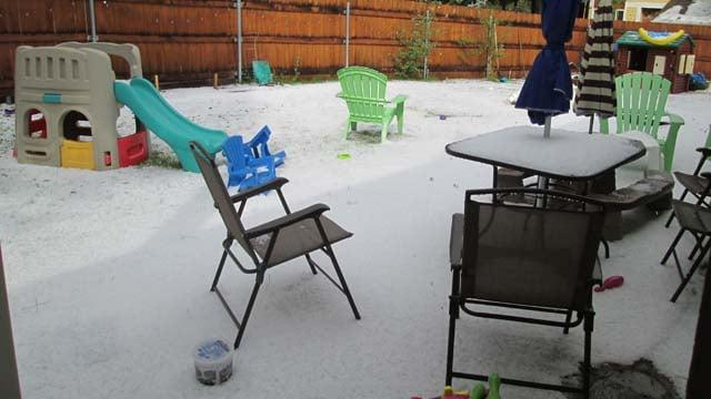 Quarter-inch hail fell in some Flagstaff neighborhoods. (Source: FLAGscanner)