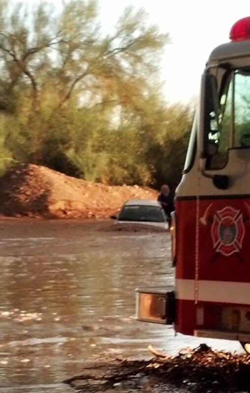 A vehicle got stuck in a wash in Quartzsite during the flash flooding. (Source: Quartzsite Fire Department)