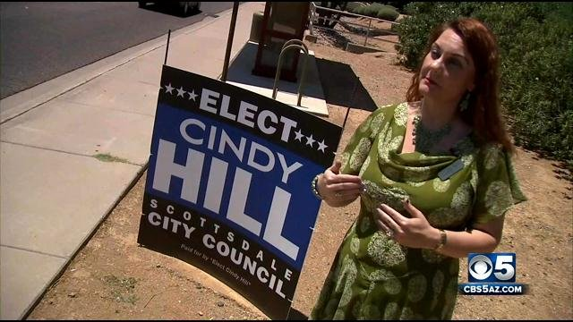 "The latest theft of ""Cindy Hill"" campaign signs happened just Saturday morning when a volunteer forgot some tools. (Source: CBS 5 News)"