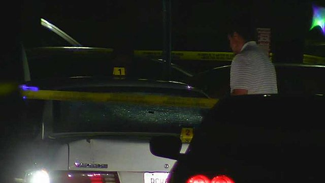 Phoenix police shot and wounded a woman in this car in a Tempe apartment complex parking lot Monday night. (Source: CBS 5 News)