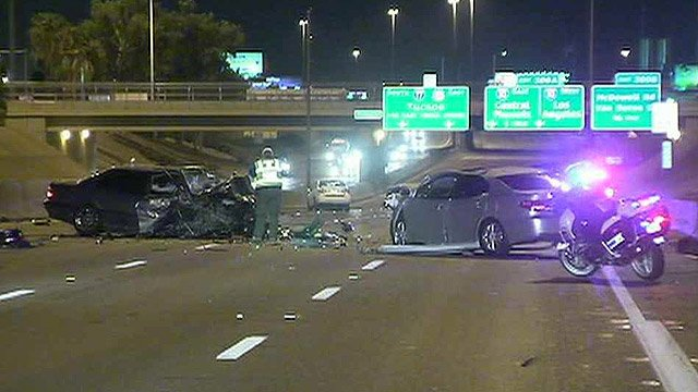 Four people were hurt, two critically, after another wrong-way, head-on crash on a Valley freeway. (Source: CBS 5 News)