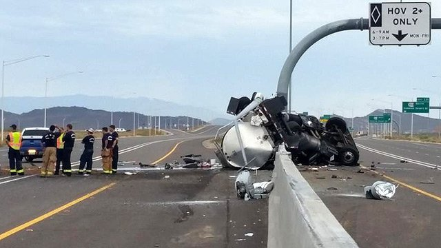 One person was killed and traffic on I-17 in both directions was blocked when this tanker crashed early Friday morning. (Source: Arizona Department of Public Safety)