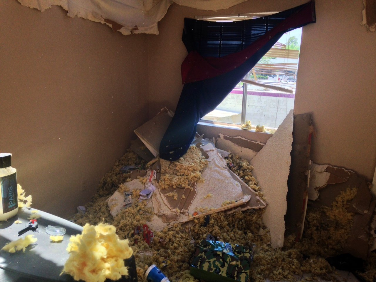 The roof collapse forced two families from their apartments. (Source: Christina Batson, cbs5az.com)