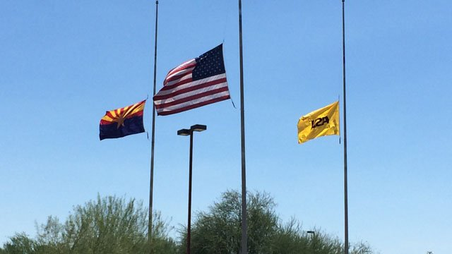 Gov. Brewer ordered flags at fly at half staff on Tuesday. (Source: CBS 5 News)