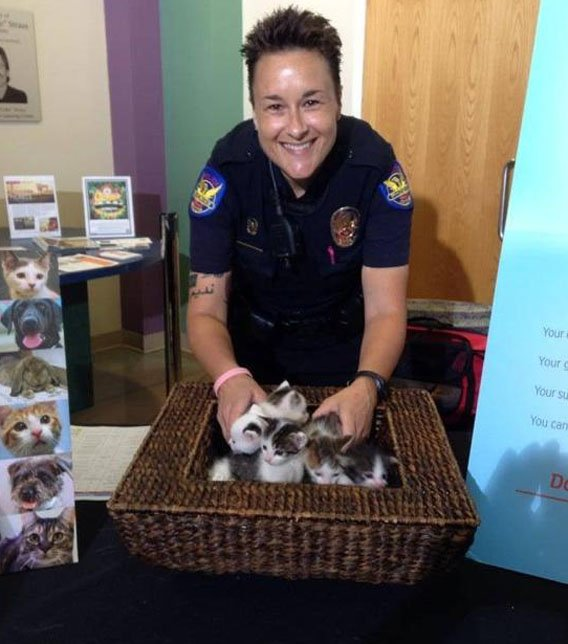 Officer Krimm poses with the kittens eight weeks after nurturing them along. (Source: Phoenix Police Department)