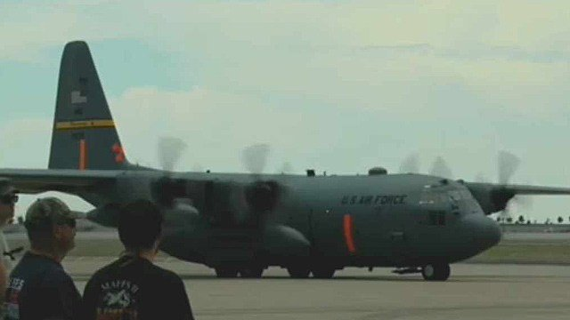 The federal government is sending four C-130 tankers equipped to fight wildfires to Arizona on Tuesday. (Source: YouTube / 146th Airlift Wing, USAF)
