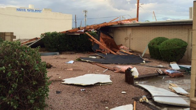 Some of the damage seen from Sunday's monsoon storm in Tempe. (Source: CBS 5 News)