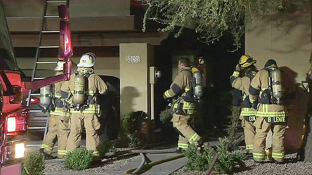 Fire units from several different agencies responded to this Litchfield Park condominium fire early Monday morning. (Source: CBS 5 News)