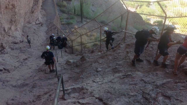 First responders rescue three people Sunday from Echo Canyon Trail at Camelback Mountain. (Source: Phoenix Fire Department)