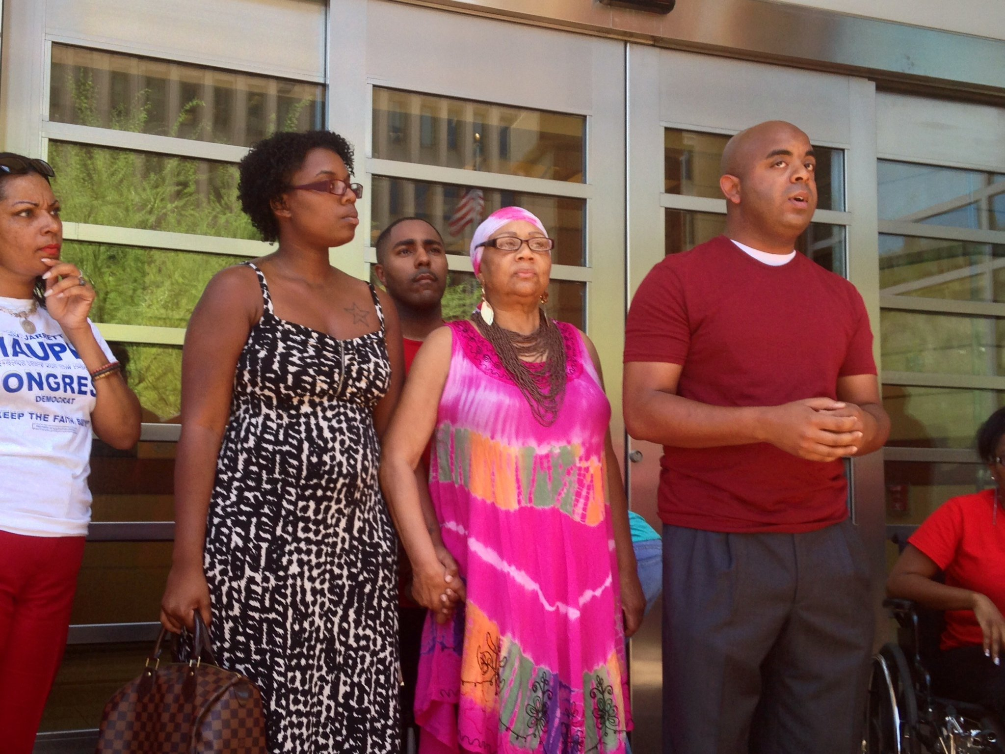 Demonstrators outside Phoenix City Hall. (Source: Christina Batson, cbs5az.com)