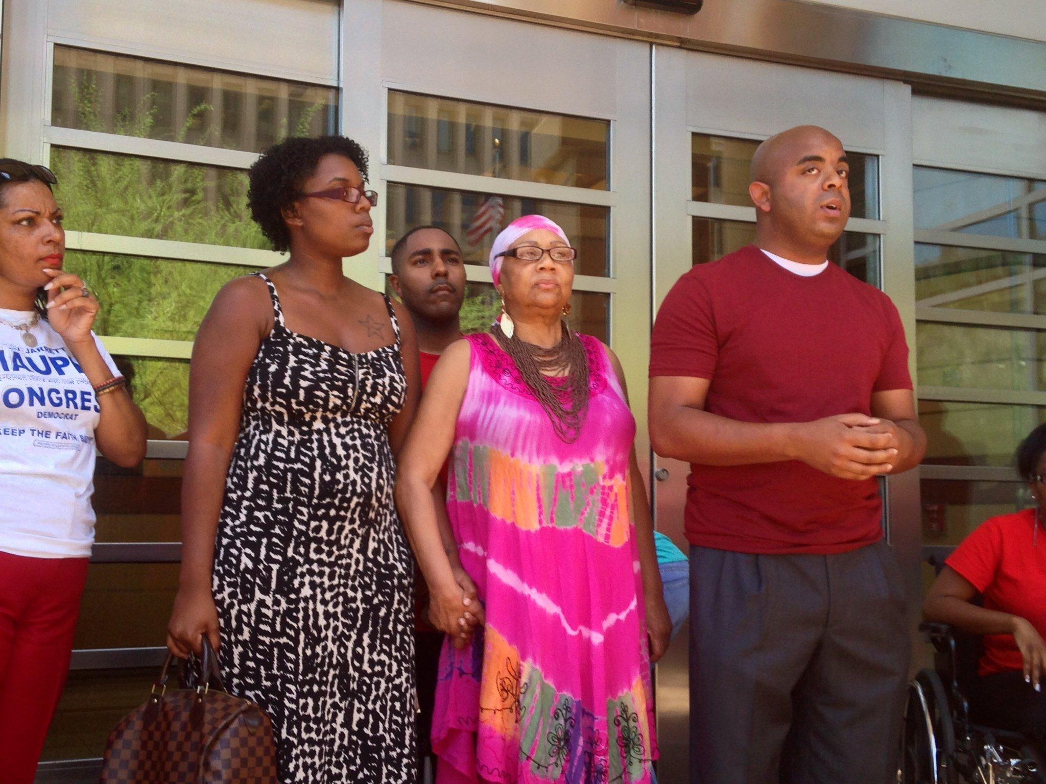 Demonstrators outside Phoenix City Hall. (Source: Christina Batson, cbs5az.com)