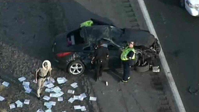 The driver of this car suffered minor injuries after a roll-over crash on I-10 Monday morning. (Source: CBS 5 News)