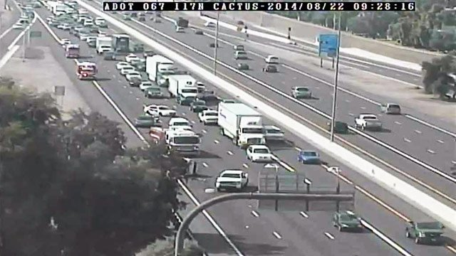 A one-vehicle rollover created delays on I-17 on Friday morning. (Source: Arizona Department of Transportation camera)