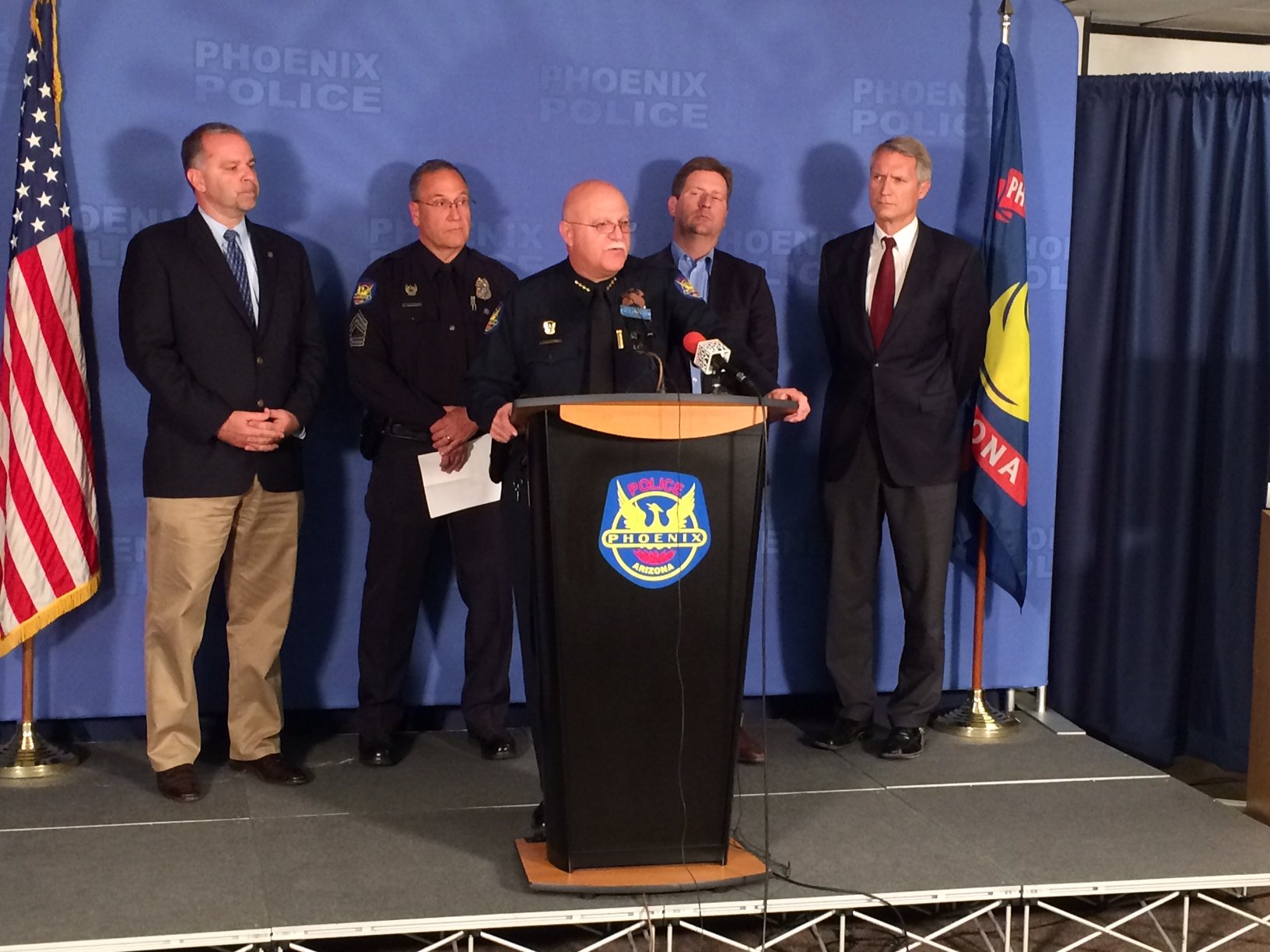 Saturday's press conference at Phoenix police headquarters. (Source: CBS 5 News)