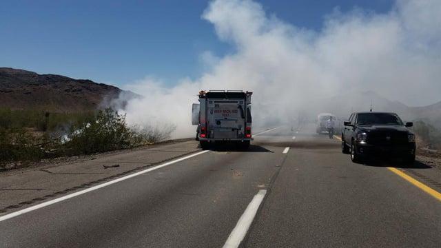 I-10 eastbound near Quartzsite. (Source: DPS Officer Carrick Cook)