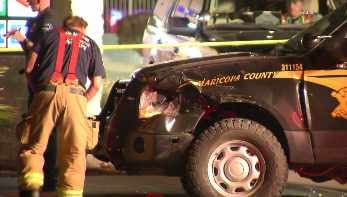 The MCSO deputy suffered minor injuries and is expected to be OK. (Source: CBS 5 News)