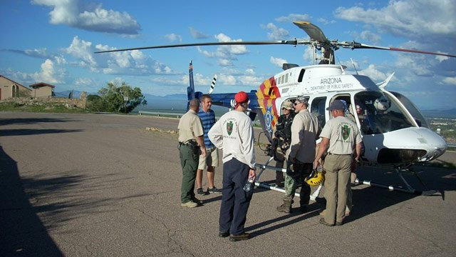 A DPS helicopter was called in to rescue a Fort Huachuca soldier who was stranded on a canyon wall while hiking Sunday. (Source: Cochise County Sheriff's Office)