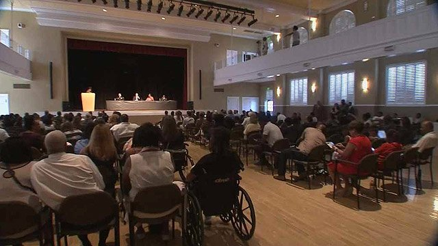 More than 100 people attended the town hall at the Steele Indian School Park Civic Building to ask questions and listen to the panel. (Source: CBS 5 News)