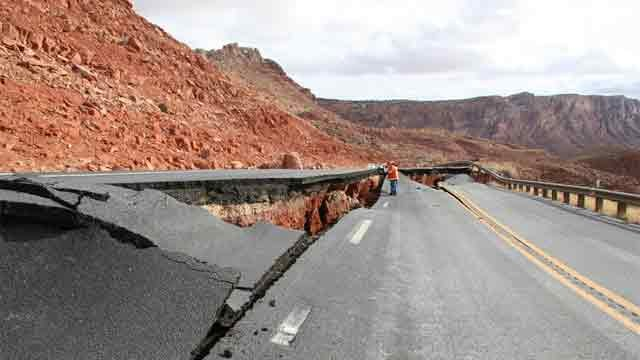 A portion of U.S. 89 was badly damaged in February, forcing motorists to take a 50-mile detour. (Source: ADOT)