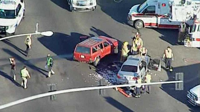 A collision closed eastbound U.S. Highway 60 at 99th Avenue on Thursday morning. (Source: CBS 5 News)