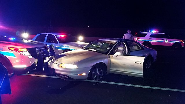 A woman driving this sedan led Phoenix police and DPS officers on a high-speed chase on I-10 Monday night. (Source: Arizona Department of Public Safety)