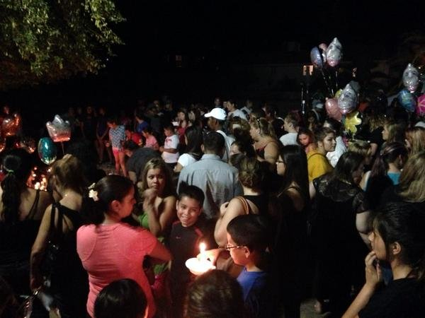 Hundreds turned out for a candlelight vigil Thursday night in Bullhead City. (Source: Greg Argos, cbs5az.com)