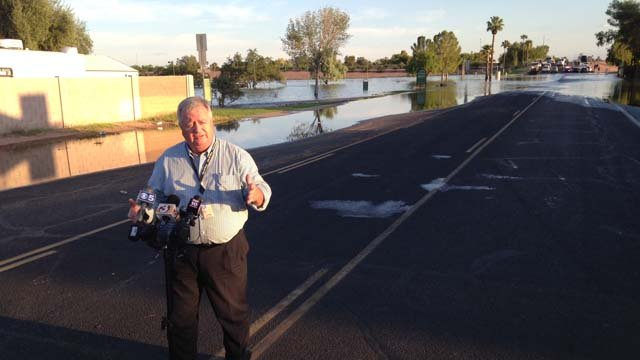 Mesa Mayor Alex Finter described the flooding in one section of town. (Source: Sean Gates, cbs5az.com)