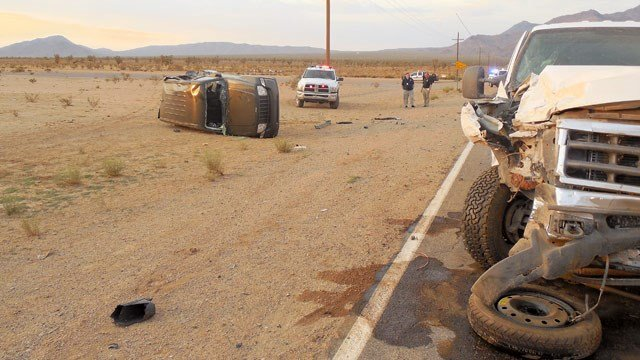Mohave County deputies blame a dust storm for a four-vehicle pileup on a county road Thursday evening. (Source: Mohave County Sheriff's Office)