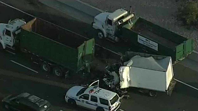 One person was killed in this crash on westbound U.S. Highway 60 near Power Road in Mesa. (Source: CBS 5 News)