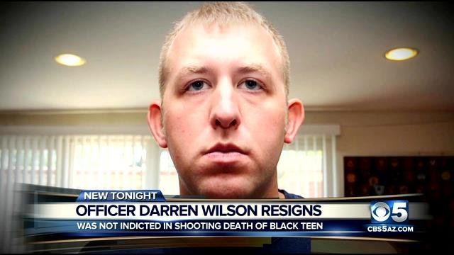 Darren Wilson resigned from the Ferguson police force on Saturday. (Source: CBS 5 News)